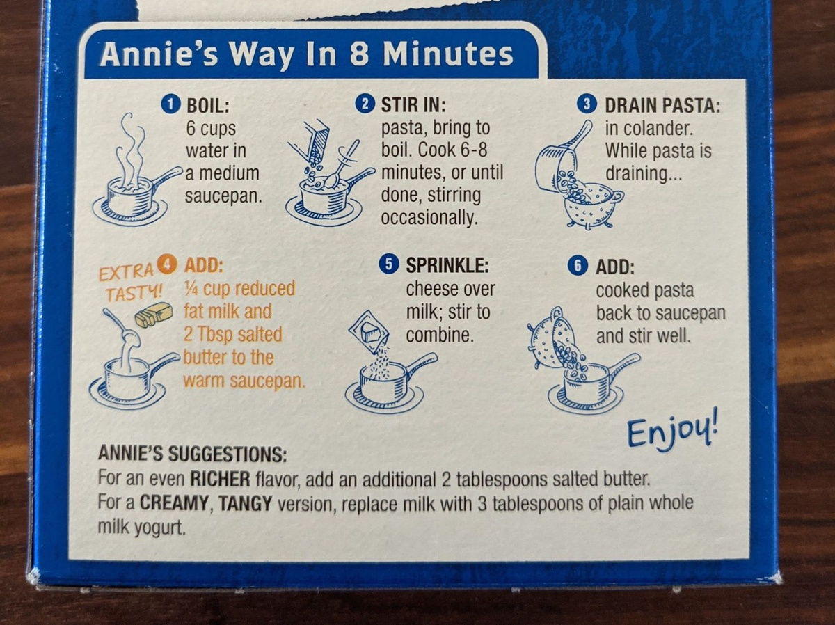 Annie's way in 8 minutes: cook and drain pasta; combine milk, cheese, and cheese packet in saucepan; add cooked pasta to saucepan and stir